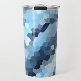 Blue Geometric Waves Travel Mug