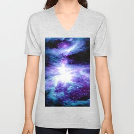 Galaxy : Orion Nebula Violet Purple Teal Blue Unisex V-Neck