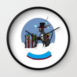 A Snow Globe with a Steampunk Kitty Wall Clock