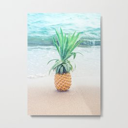 Happy Pinapple Portrait Metal Print