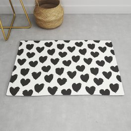 Black and White heart brush stroke abstract pattern Rug
