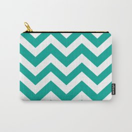 Persian green - green color - Zigzag Chevron Pattern Carry-All Pouch