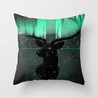 northern lights Throw Pillows featuring Northern Lights by angrymonk