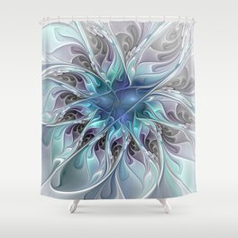Flourish Abstract, Fantasy Flower Fractal Art Shower Curtain