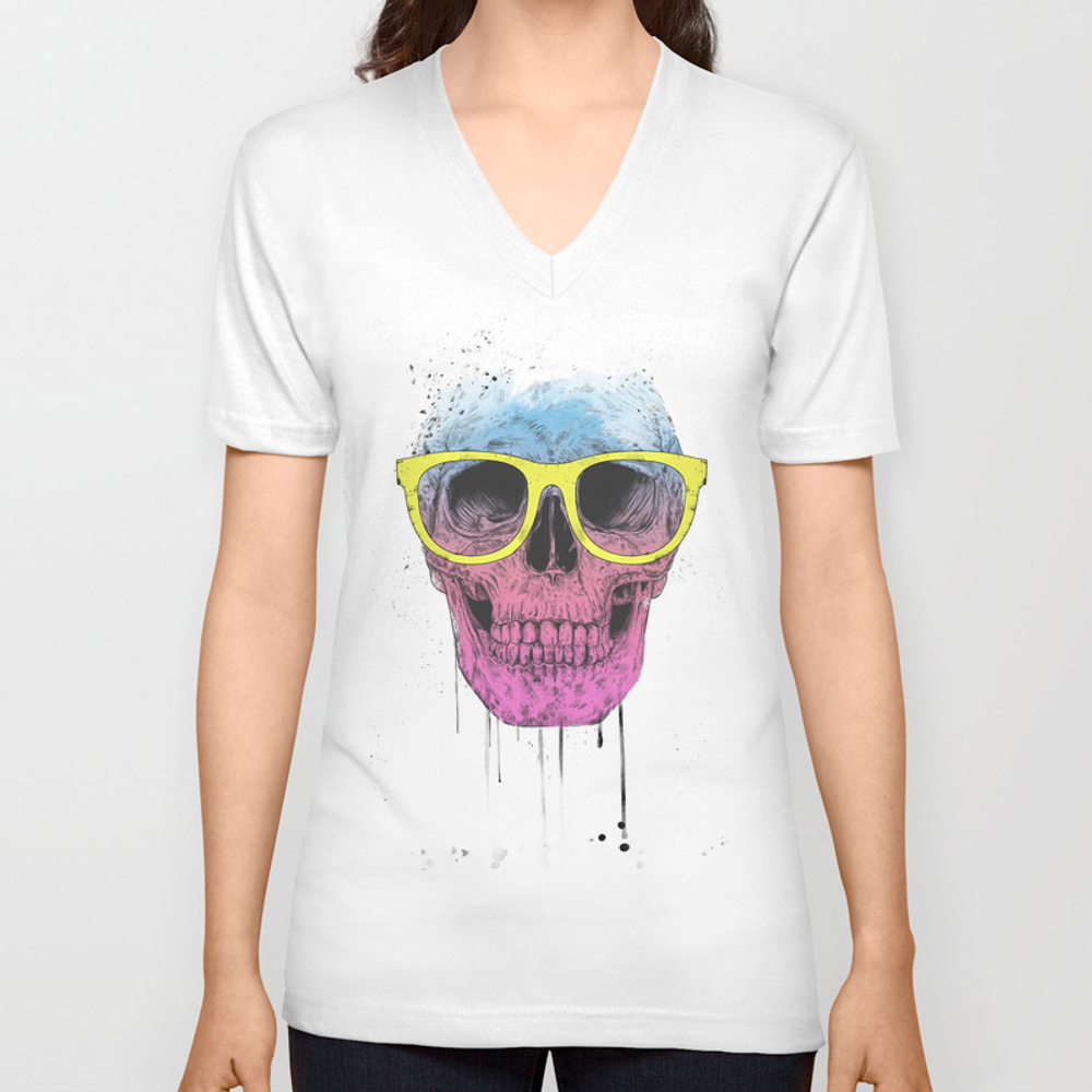 Pop Art Skull With Glasses Unisex V-neck by Soltib VNT3735901