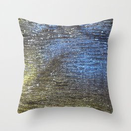 Gold and Blue Abstract Sparkly Design Throw Pillow