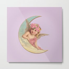 Victorian Moon Angel Metal Print