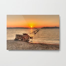 Sunset at a ruined bridge in Alikes of Milos, Greece Metal Print