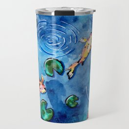 Koi Fish Pond in the Rain Travel Mug