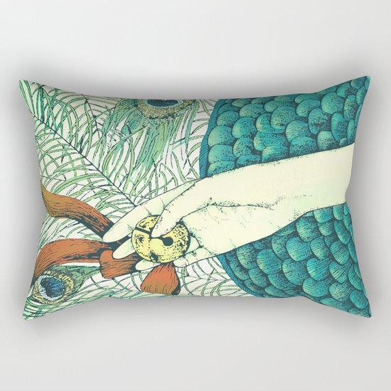 Golden bell and peacock feathers Rectangular Pillow