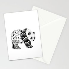 Bamboo Panda Bear Mountains and leaves dot-work, pointillism Stationery Cards