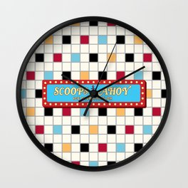 TV series inspired collection | SCOOPS AHOY ICE CREAM PARLOR | Colorful | Pattern design Wall Clock