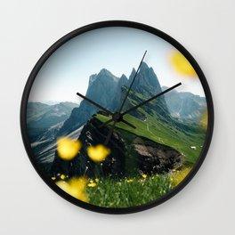 Mountain view Seceda in the Italian Dolomites Wall Clock