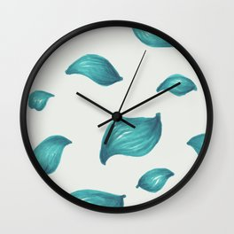 Icy bright blue turquoise leaf pattern Wall Clock