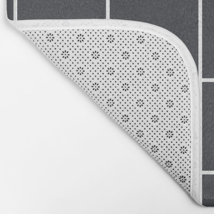 Minimal grid pattern on dark lava Bath Mat