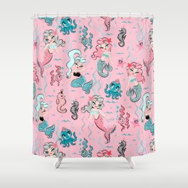 Babydoll Mermaids on Pink Shower Curtain