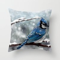 jay fleck Throw Pillows featuring Blue Jay by Ben Geiger
