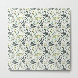 Mixed Green Colors Tropical Leafs Pattern Metal Print