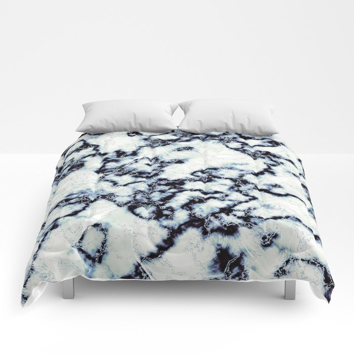 Black Blue and White Metallic Marble Pattern Comforters