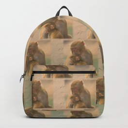 Cute Gibbon Mother And Child Print - Animals / Monkeys / Zoo / Primates / Nature Print Backpack