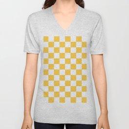Checkered (Orange & White Pattern) Unisex V-Neck