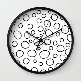 Black and white ring hand drawn seamless pattern Wall Clock