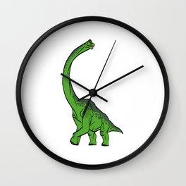 "Nice Dinosaur Tee For Animal Lovers ""Brachiosaurus Diplodocus"" T-shirt Design Jurassic Park Reptiles Wall Clock"