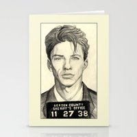 frank sinatra Stationery Cards featuring Frank Sinatra - Mugshot 1938 by Tim Clary