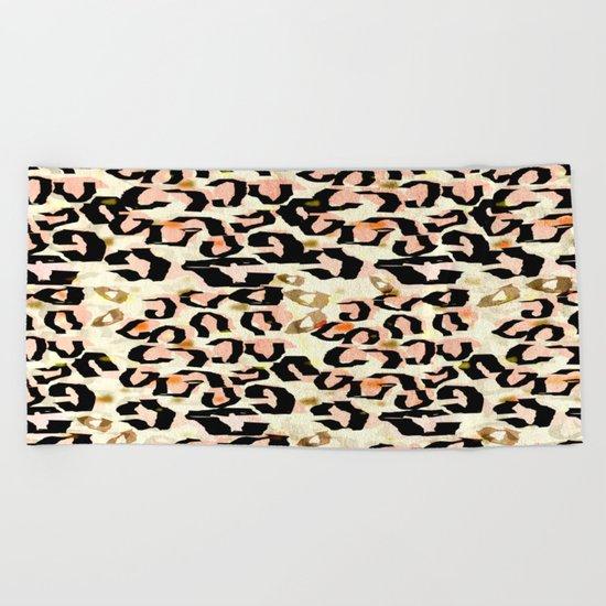 Abstract Leopard Print Beach Towel
