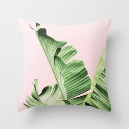 Banana Leaf on pink Throw Pillow