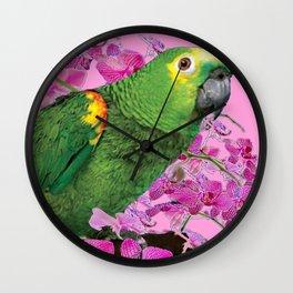 PINK TROPICAL GREEN PARROT & FUCHSIA ORCHIDS  ART Wall Clock