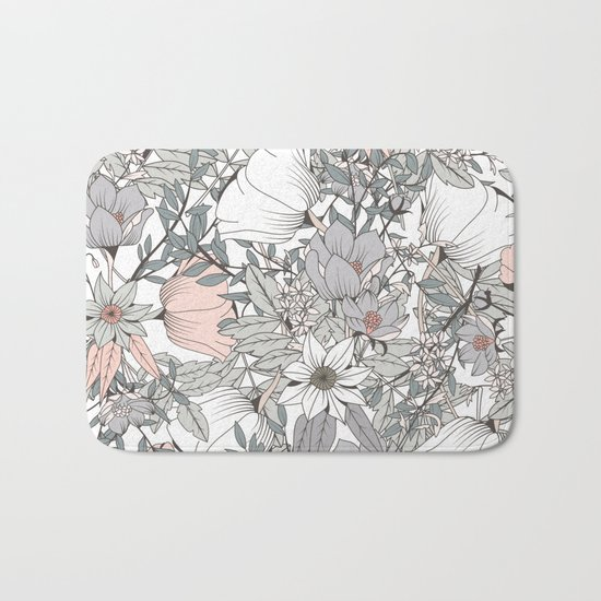 Gray and Pink Floral Pattern Bath Mat