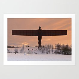 Angel of the North Winter Sunset Art Print