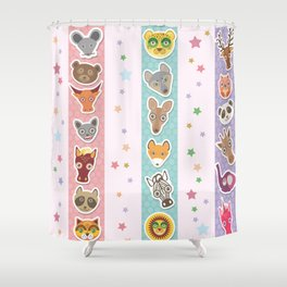 Set of funny animals muzzle seamless pattern with stars, pink lilac blue stripes. Vector Shower Curtain