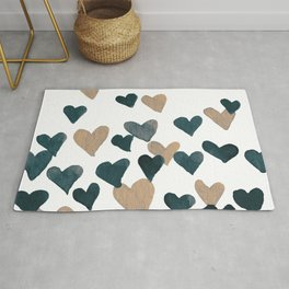 Valentine's Day Watercolor Hearts - neutral Rug