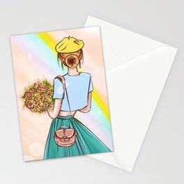 Paris themed lady with bouquet Illustration Stationery Cards