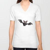 cartoon V-neck T-shirts featuring cartoon bat by Li-Bro