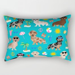 Dachshunds beach summer tropical vacation weener dogs doxie gifts Rectangular Pillow