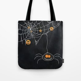 Halloween Spider on Web Tote Bag