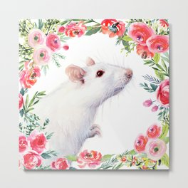 White Rat with Flowers Watercolor Floral Pattern Animal Metal Print