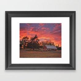 Barn Sunset Framed Art Print
