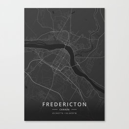 Fredericton, Canada - Dark Map Canvas Print