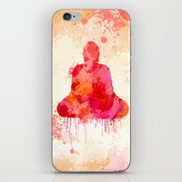 buddhism iPhone & iPod Skins featuring Red Buddha Watercolor art by Thubakabra