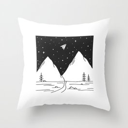 """""""Fly Away"""" - Paper Plane Landscape Throw Pillow"""