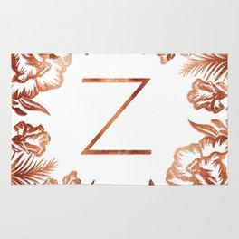 Letter Z - Faux Rose Gold Glitter Flowers Rug