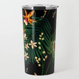 Floral Bees Dark Travel Mug