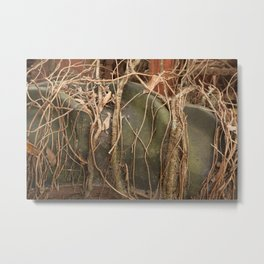 Old Tractor Tire with Vines Metal Print