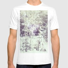 winter forest White MEDIUM Mens Fitted Tee