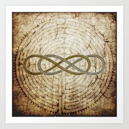 Double Infinity Silver Gold antique Art Print