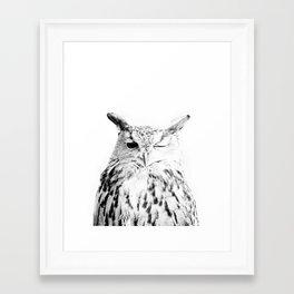 Owl, Bird, Cute, Scandinavian, Modern art, Art, Minimal, Wall art Print Framed Art Print